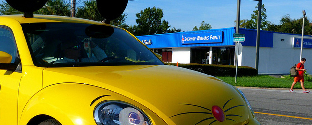 detail of a Truly Nolen 'mouse car' VW Beetle with ears and decals