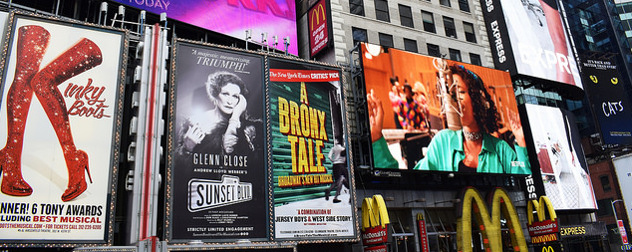 detail of Times Square advertisements for Kinky Boots, Sunset Boulevard and A Bronx Tale