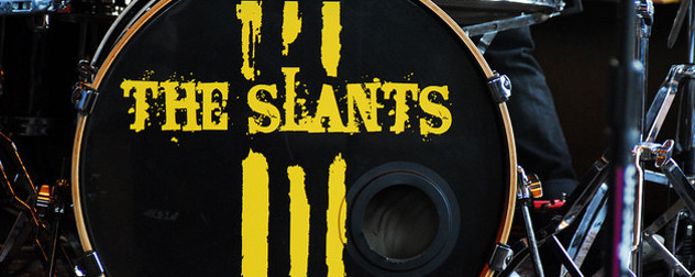 detail of the Slants' logo on a drum set