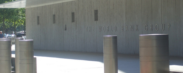 large sign for The World Bank Group on the side of a building