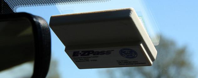 E-ZPass transponder on a windshield