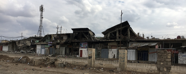 wrecked buildings in Eastern Mosul