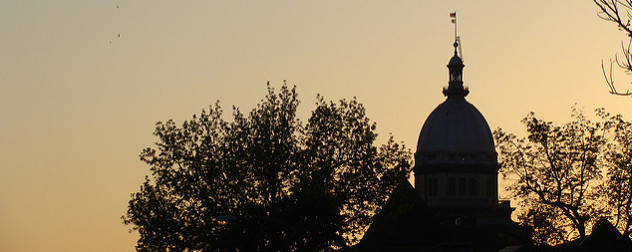 detail of the Illinois State Capitol at sunset