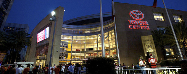The Toyota Center in Houston, at night