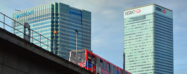 world headquarters for Barclays Bank and HSBC with a Docklands Light Railway train in the foreground