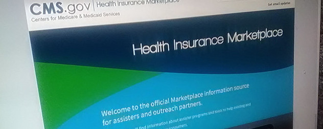 computer monitor displaying CMS Health Insurance Marketplace website