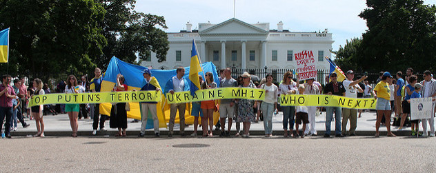 pro-Ukraine demonstrators in front of the White House