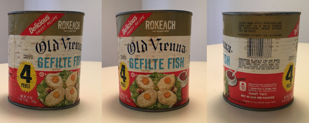 three views of a vintage can of Rokeach gefilte fish
