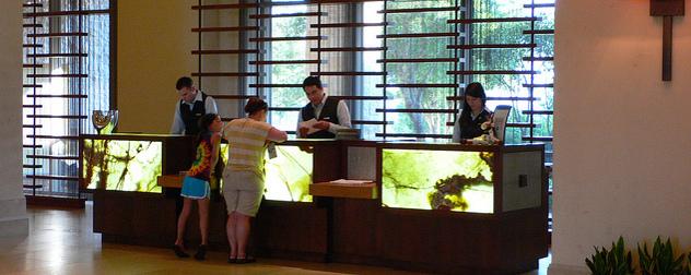 reception desk at JW Marriott San Antonio Hill Country Resort