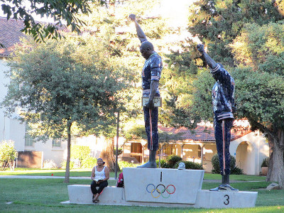 statue honoring Tommie Smith and John Carlos