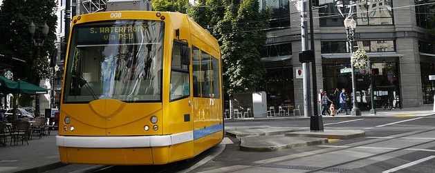 yellow Portland streetcar in operation