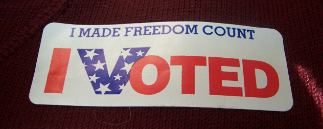 sticker that says 'I made freedom count I voted'