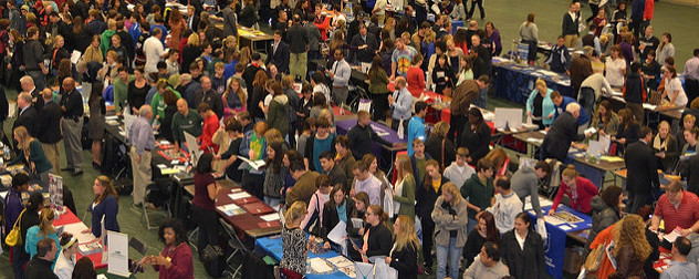 busy college fair photographed from above