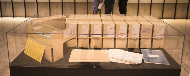 The Pentagon Papers in a  museum display case