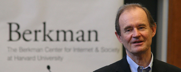 David Boies in front of an out-of-focus banner with the word 'Berkman' on it