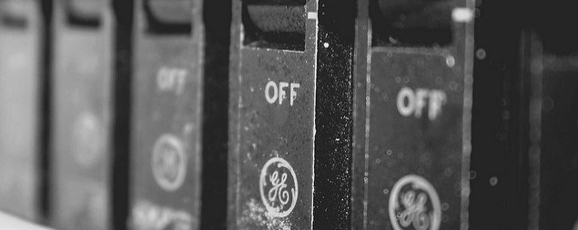 detail of row of circuit breakers with GE logo