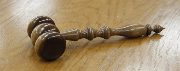 gavel on a wooden table