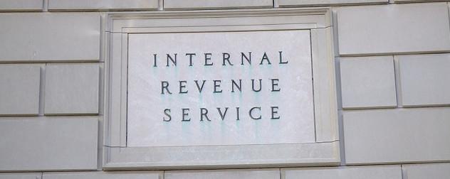 stone sign reading 'Internal Revenue Service'