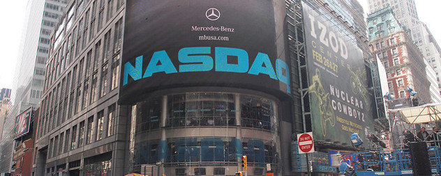 NASDAQ sign in Times Square, New York City