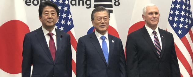 Shinzo Abe, Moon Jae-in and Mike Pence