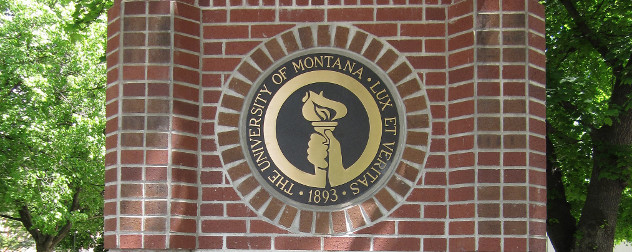 plaque at the entrace to the University of Montana with the motto 'Lux et Veritas'
