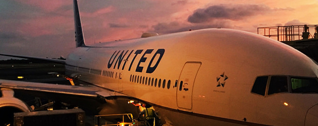 detail of a United airliner at sunset