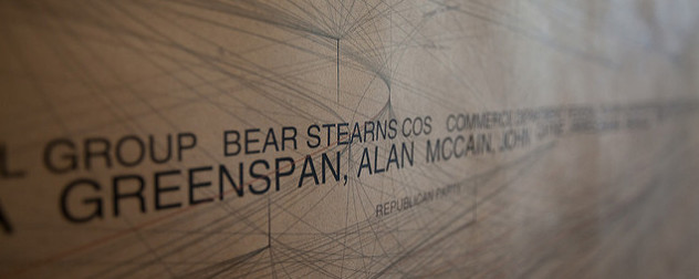 detail of artwork incorporating the name Bear Stearns among others