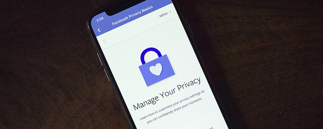 Facebook phone app displaying 'Manage Your Privacy'
