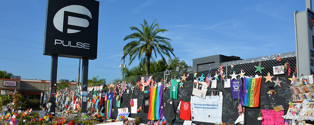 exterior of the Pulse nightclub in Orlando with various memorials left after the June 2016 shooting