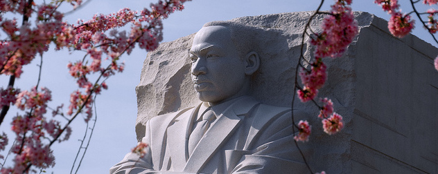 detail of Martin Luther King Jr. memorial with cherry blossoms in foreground