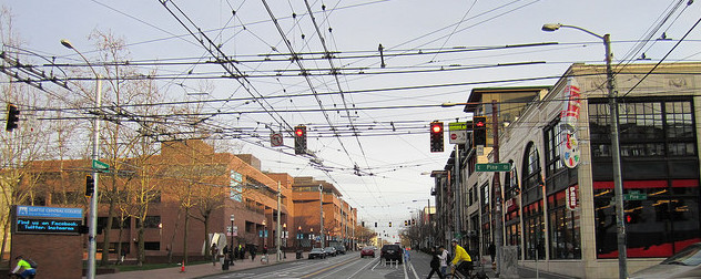 overhead streetcar wires in Seattle