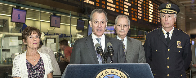 Eric Schneiderman speaking at Penn Station