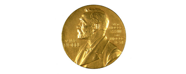 Nobel Prize medial on white background