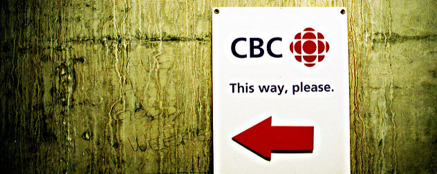 sign with CBC logo reading 'This Way, Please'