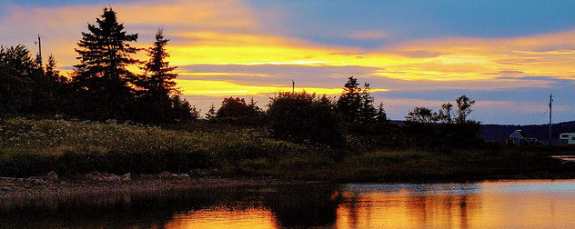 sunset over a Nova Scotia lake scen