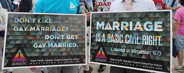 signs in support of marriage equality