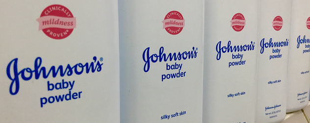 detail view of a row of Johnson's Baby Powder shakers