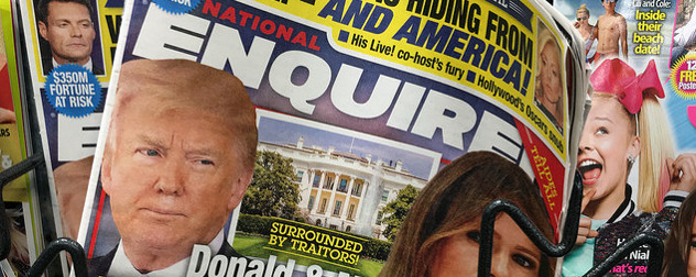 detail of AMI publication National Enquirer cover, with President Donald Trump and Melania Trump