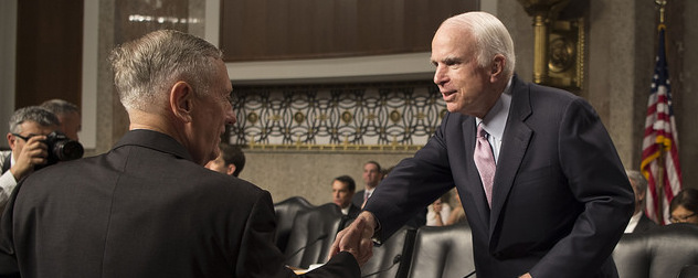 Jim Mattis shakes hands with John McCain
