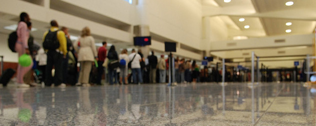 long airport security line, viewed from ground level