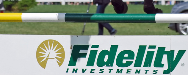 Fidelity Investments logo on a horse jump hurdle (detail)