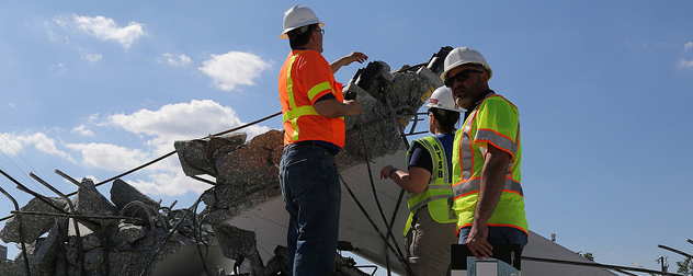 National Transporation Safety Board investigators at the scene of the Florida International University bridge collapse