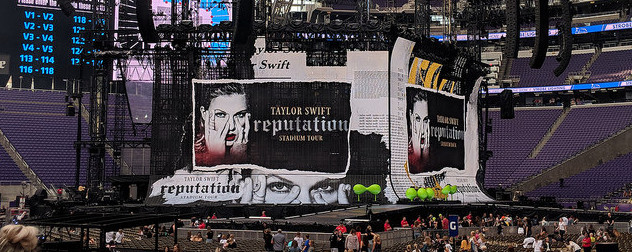 stage setup for Taylor Swift's 'Reputation' tour stop in Minneapolis, Minnesota