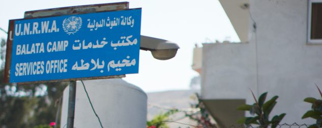 sign in Arabic and English: 'U.N.R.W.A./Balata Camp/Services Office'