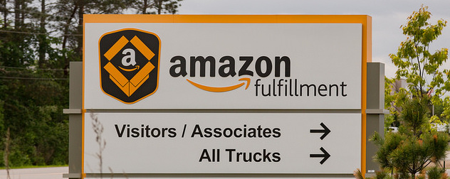Amazon fulfillment center sign, directing visitors and trucks to the right