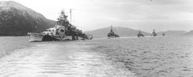 black and white image of the Tirpitz, with other ships in the background