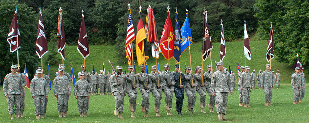 outdoor exercises by U.S. color guard detachment