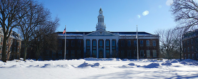 Harvard Business School, Cambridge, Mass. on a snowy day