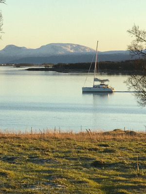 sailboat on the fijord at Tromso