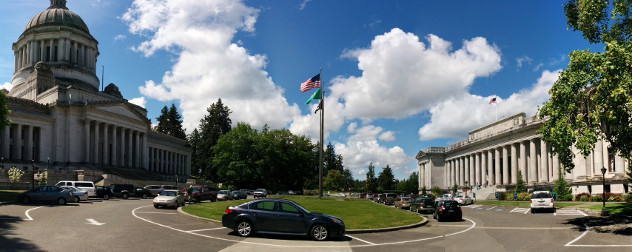 panoramic view of the Washington State Capitol campus in summer